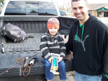 Easton Stumm was the first to bring his tagged fish in to claim a trophy and a new fishing rod!